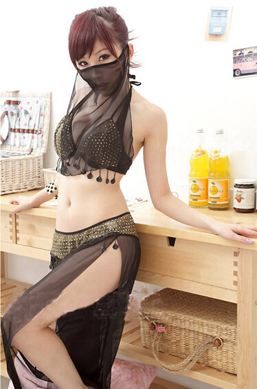 Hot 4PCS/set Women's Wear Dance Latin Dance Clothing Arab Belly Dance Costumes Withe Veils High Quality