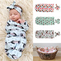 3 Color Cute Newborn Baby Sleeping Bags And Headband Blanket Swaddle Sleeping Bag Sleepsack Stroller Wrap Outwear