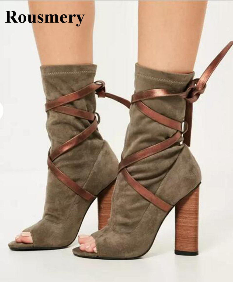 High Quality Women Fashion Open Toe Suede Leather Lace-up Thick Heel Gladiator Boots Super High Thick Heel Ankle Boots new year designer army green suede lace up high heel boots thick square heel open toe lace up strappy ankle motorcycle boots
