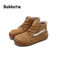 Bakkotie 2017 Spring Baby Fashion High Band Tie Shoes Children Girl Platform Baby Boy Black Coach