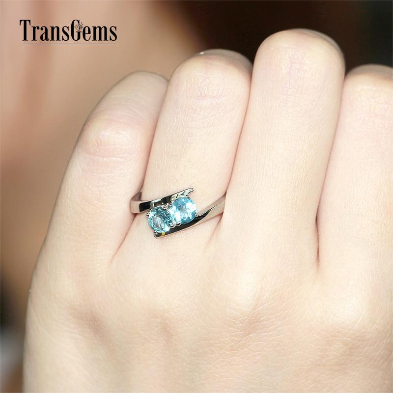 TransGems 1 TCW Carat Natural Aquamarine Engagement Anniversary Rings 14K White Gold Wedding Band for Women