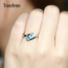 TransGems 1 TCW Carat Natural Aquamarine Engagement Anniversary Rings 14K White Gold Wedding Band for Women