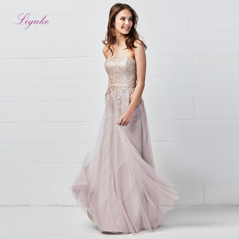 Liyuke A line   Bridesmaid     Dress   Long   Dress   Strapless Draped Lace Appliques Pattern Tulle Custom Made Size Free Shipping