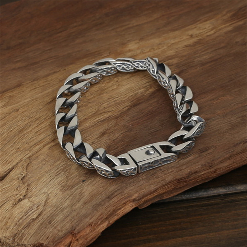 Pure Silver 925 Vine Edge Heavy Link Chain Bracelet For Men 100% Real Sterling Silver 925 Cool Fashion Mens 925 Silver Jewelry 8mm solid pure sterling silver 925 mens chain bracelet simple cool style thai silver mens jewelry polished link chain free box