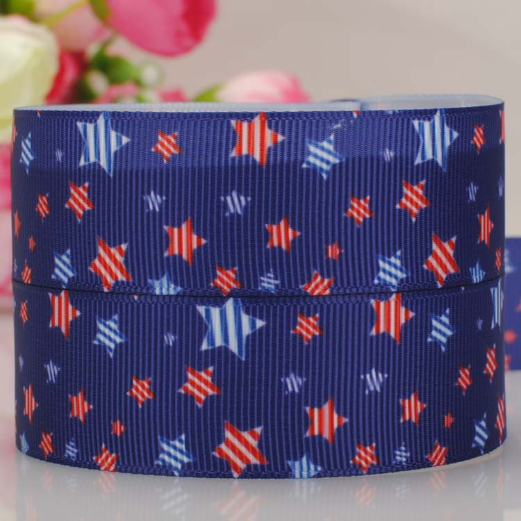 free shipping 50 yards 1  25 mm 4th July independence day star pattern print grosgrain tape ribbon with better price