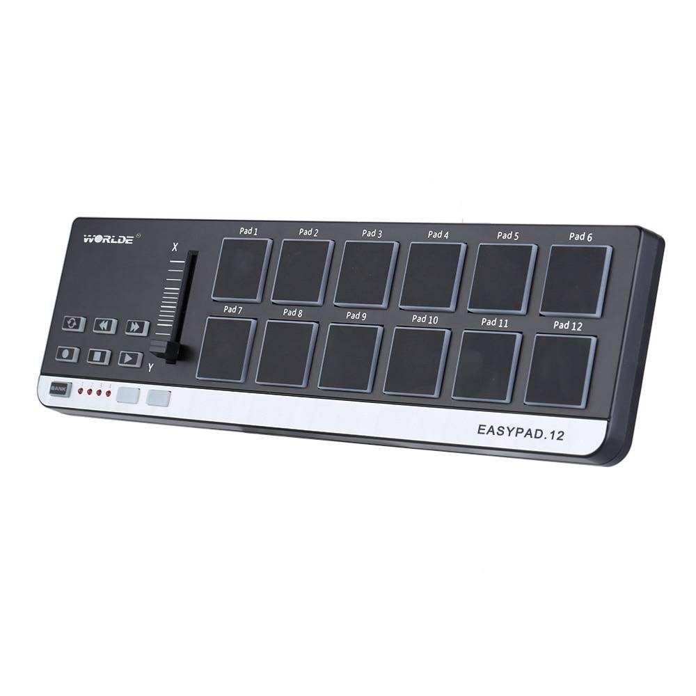 Портативный мини USB 12 Drum Pad MIDI контроллер высокого качества EasyPad.12 Лидер продаж 4 банки для различных настроек