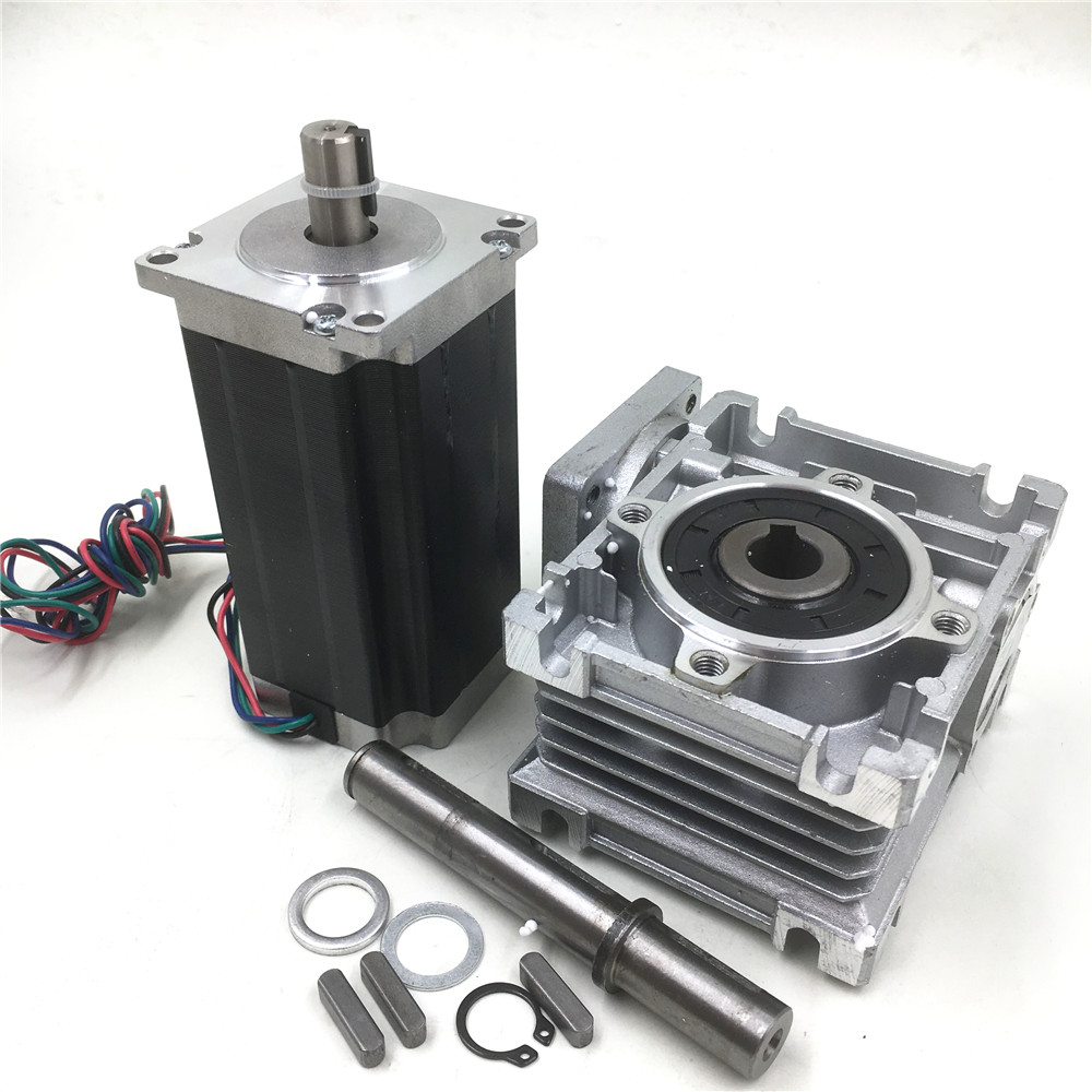 Nema23 3Nm L112mm Stepper Motor Driver+Worm Gearbox Speed Reducer Geared Kit