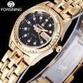 Forsining 2017 negócio marca senhoras quartzo relógio de ouro banda de aço inoxidável mostrador preto numerais romanos relógio de pulso relógios para as mulheres