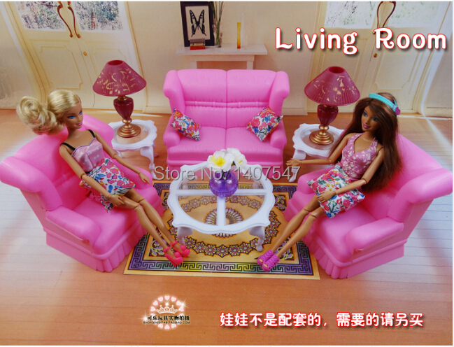 ФОТО New Pink dream living room sofa furniture Set for babie doll play house toys ,miniature dolls house furniture