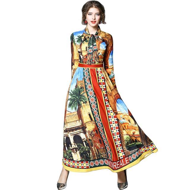 Взлетно-посадочной полосы Дизайнер Макси платье Для женщин 2018 халат Longue Femme летнее платье рубашка работа Повседневное Цветочный принт с длинными рукавами и бантом Длинные платья