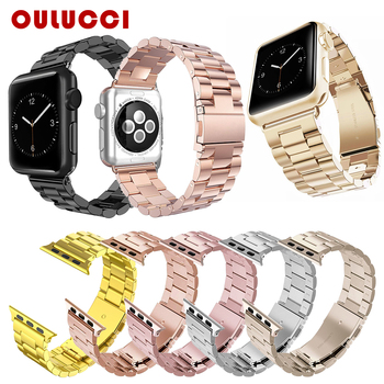 цена на For Apple Watch Band 42/44mm Black Gold Stainless Steel Bracelet Buckle Strap Adapter for Apple Watch 5 4 3 2 Watch Band 38 40mm
