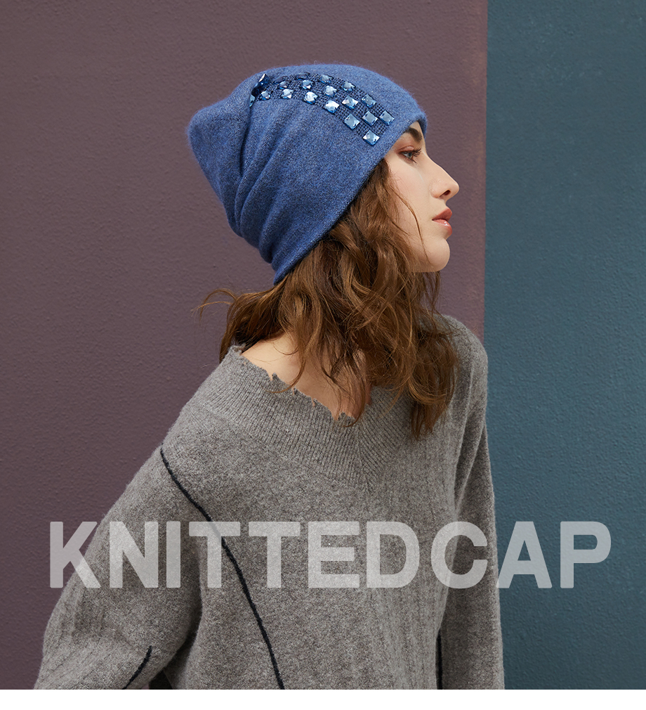 Women's Winter Beanies 2018 Stretchy Knitted Hat Flashing Glass Rhinestone Hat Female Cashmere Bonnets Elegant Warm Beanie Gorro (1)