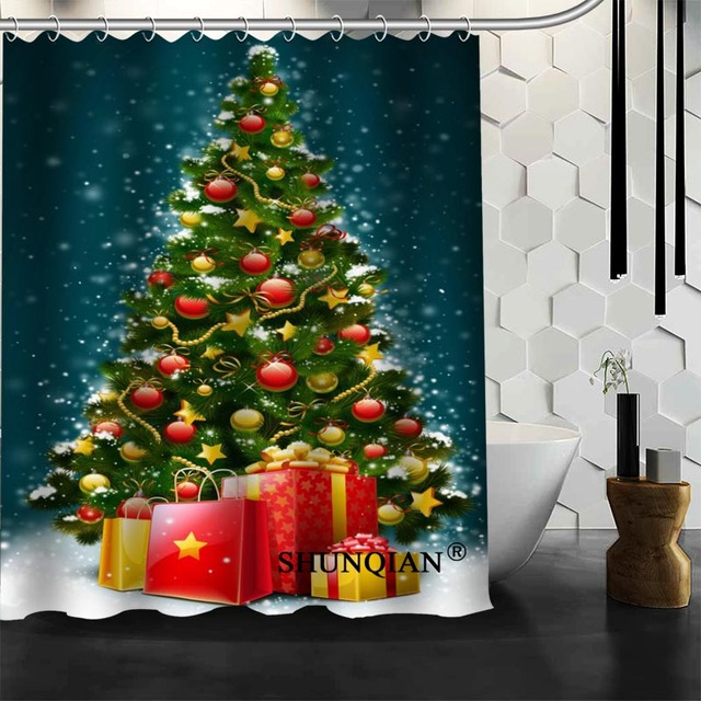 Best Nice Custom Christmas Tree Shower Curtain Bath Waterproof Fabric Bathroom MORE SIZE A6