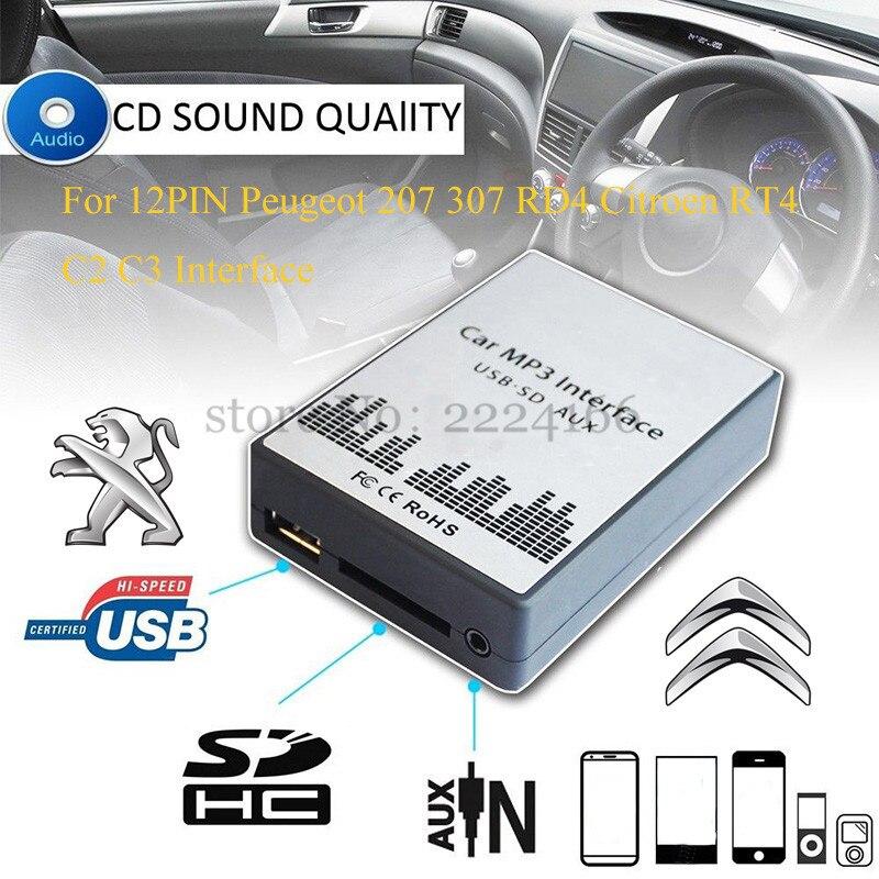 USB SD AUX chargeur de voiture MP3 lecteur de musique adaptateur CD changement de Machine pour Peugeot 207 307 RD4 citroën RT4 C2 C3 12PIN Interface