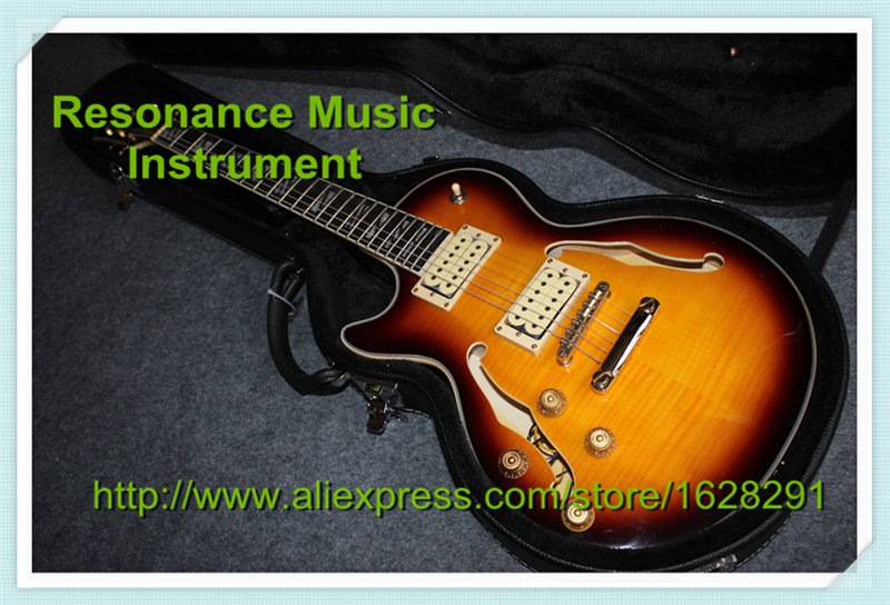 все цены на Custom Shop Left Handed LP Superme Electric Guitar Semi-Hollow Body Guitar With Hardcae Together онлайн