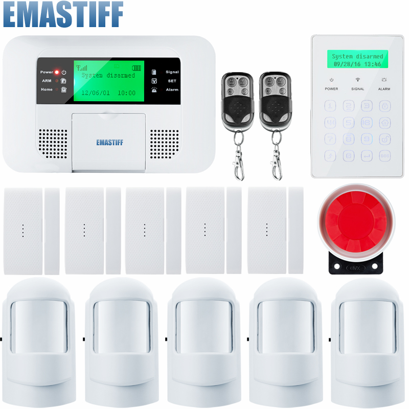 Home alarm system multiple voice wireless pstn gsm alarm system security home with magnetic Door sensr Motion detector wireless smoke fire detector for wireless for touch keypad panel wifi gsm home security burglar voice alarm system