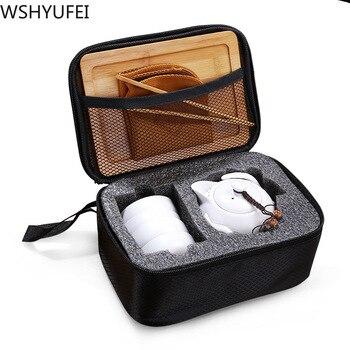 Creative travel tea set portable art pot Ding kiln ceramic Tea set teapot all handmade home gift tea set dropshipping 1