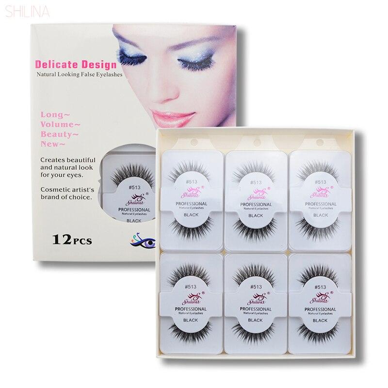 SHILINA False Eyelashes 12 Pairs Handmade Thick Long False Lashes Extension Fake Eye Lashes Professional Makeup 513