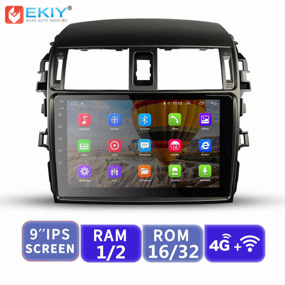 EKIY 9'' IPS No 2 Din Android Car Multimedia Player Radio For Toyota Corolla 2006-2013 E140/150 Auto Stereo GPS Navigation Wifi