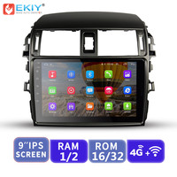 EKIY 9'' IPS No 2 Din Android Car Multimedia Player Radio For Toyota Corolla 2006 2013 E140/150 Auto Stereo GPS Navigation Wifi