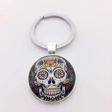2016 Skull Geometry Keychain Jewelry Handmade Art Glass Pendant Keyring Key ring for Women New Gifts