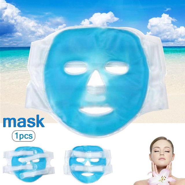 2PCS Cold Gel Face Mask Ice Compress Blue Full Face Cooling Mask Fatigue Relief Relaxation Pad With Cold Pack Faicial 2