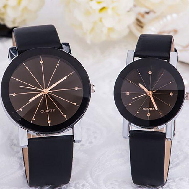 couple watchWomens Leather Stainless Steel Date Dress Quartz Analog Wrist Watch