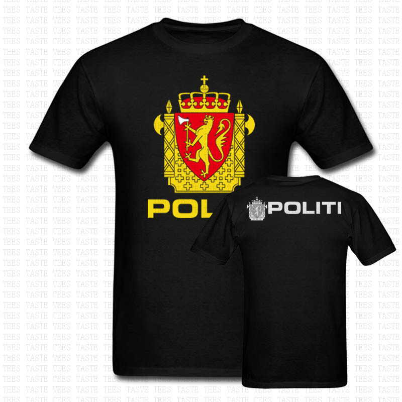 NEW NORWAY POLITI POLICE NORWEGIAN T SHIRT TWO SIDES US SIZE MENS COTTON S-3XL O NECK SHIRTS BARND CLOTHING ARMY CASUAL SHIRTS