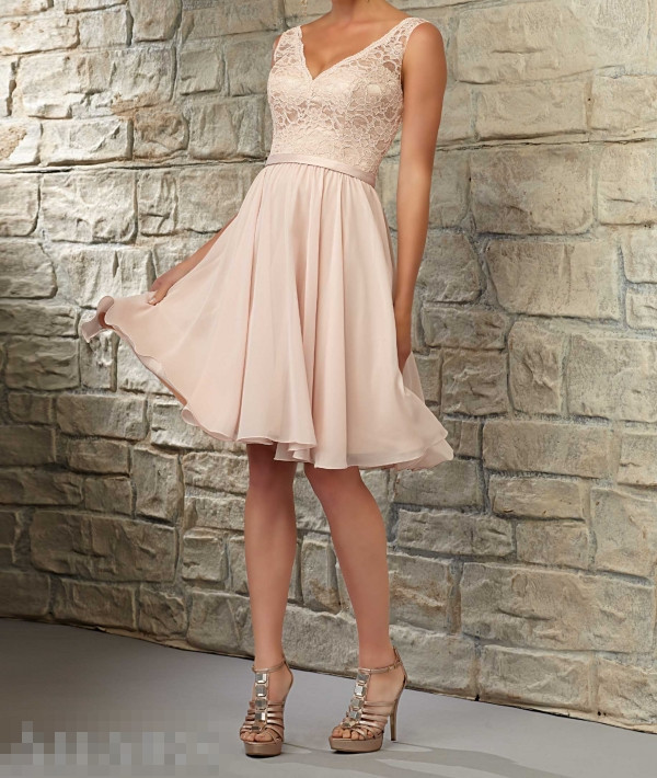 Chiffon blush pink bridesmaid dresses v neck backless for Short blush pink wedding dresses