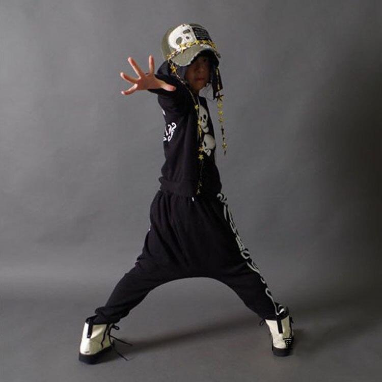Spring Children Boys Jazz Dance Costume Long Sleeved Haren Pants Hip-hop Suit Sets Two Pieces for Girls