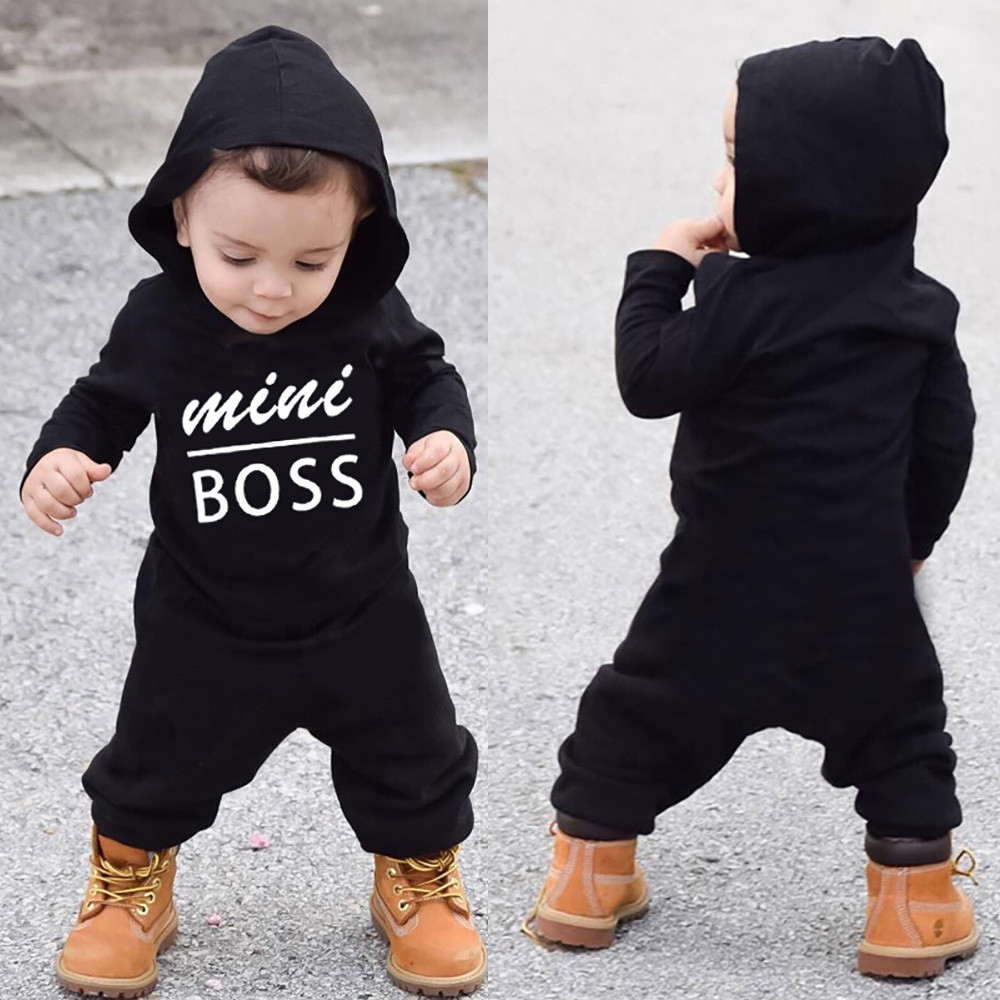 2018 Black Cool Newborn Infant Baby Boy Romper Long Sleeve Letter Hoodie Jumpsuit Clothes Outfit Boy Autumn Costume Outfit Rompers Bodysuits & One-pieces