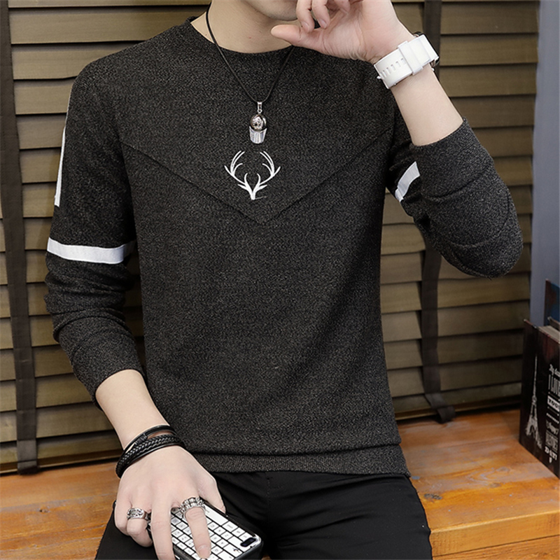 men sweater fashion  thin knitting render printed stripe unlined upper garment of cultivate one 's morality sweater 2
