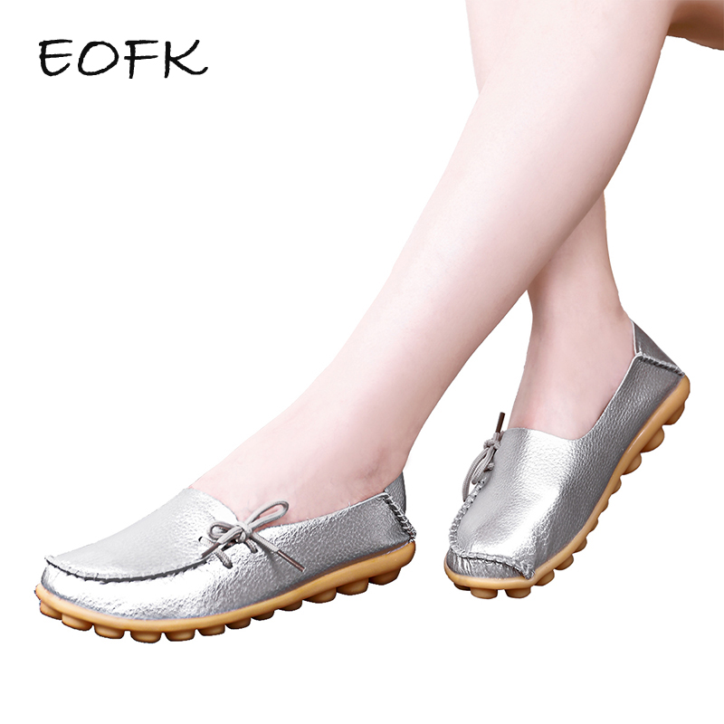 EOFK Spring Summer Women Flats Handmade Loafers Silver Leather Breathable Ladies Shoes Slip On Shoes Woman Size Plus Moccasins цена