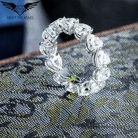 0.5ct Heart Shape Super White Moissant Band Ring For Wedding