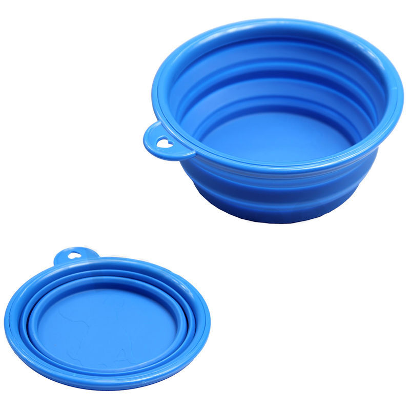 1 x Dogs/Cats Pet Portable Silicone Collapsible Travel Feeding Bowl Water Dish Feeder Candy Color