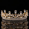 2016 new Gold transparent rhinestone bridal crowns tiara wedding pageant baroque queen crown bride hair accessories diadem