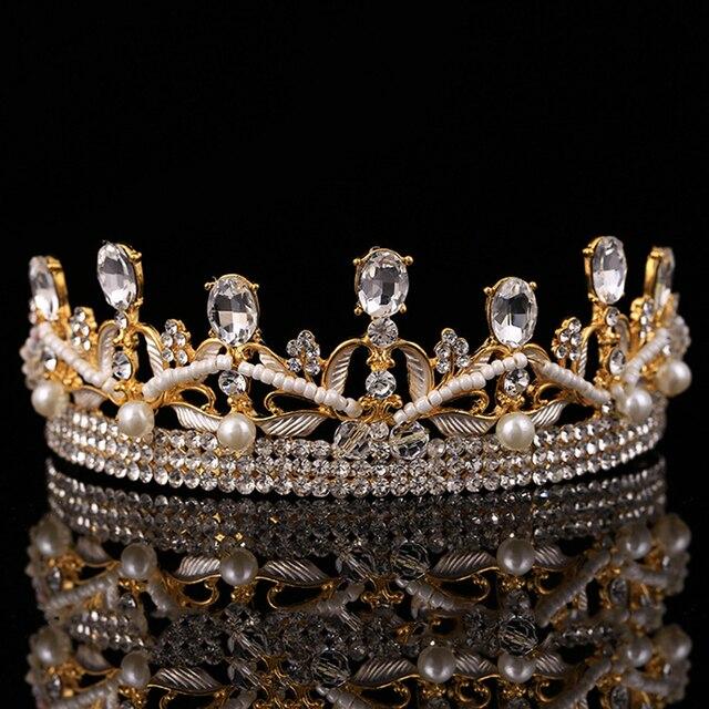 2016 nuevo Oro transparente rhinestone coronas de novia tiara corona de boda del desfile de la reina barroca novia accesorios para el cabello diadema