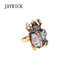 Natural Rainbow Abalone Shell Beetle Insect Ring Band For Women Fashion Jewelry