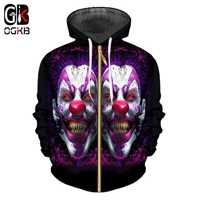 31455c6d8571 OGKB MMan New Loose Zip Hoodies 3D Printing Clown And Dinosaur Casual Plus  Size 5XL Costuming For Men Zipper Coat Wholesale