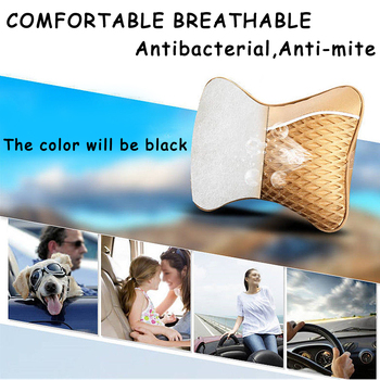 2pcs pu leather knitted car pillow