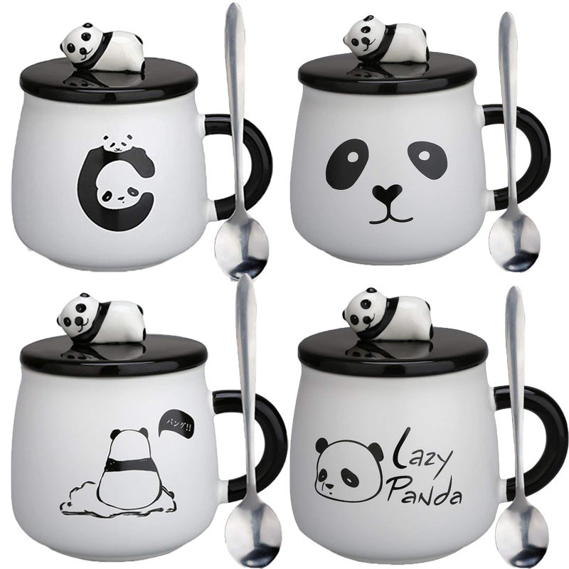 Cute Panda Mug,Thanksgiving Gifts Ceramic Coffee Mugs Tea Cup With Lid And Spoon-Christmas Gift For Mom, Girls, Girlfriend, Wife