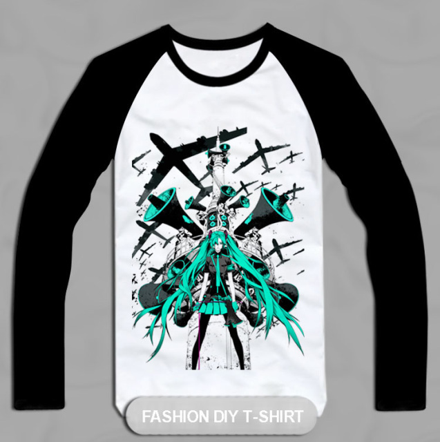 Free Shipping! Hatsune MIKU VOCALOID printing, cotton Long sleeve Tee, 3 styles~~~~