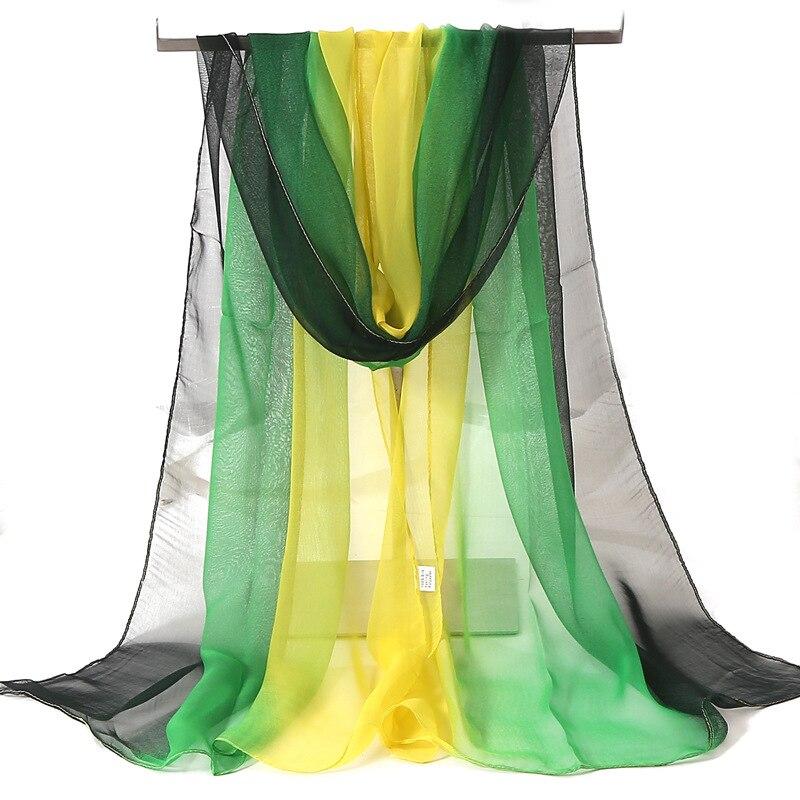 Hot Fashion Gradient Color Solid Scarf Women Foulard Chiffon Georgette Long Shawl Summer Bandana Elegant Hijab 50*160cm M292