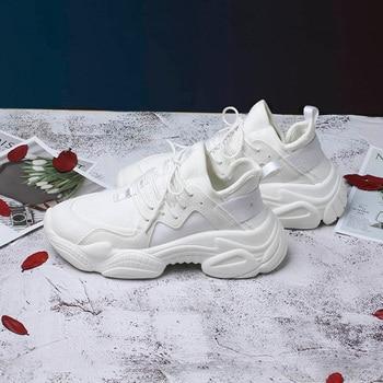 2019 Nuevas zapatillas de deporte gruesas para mujer Cesta Zapatos de plataforma casual para mujer Zapatillas de lona para mujer Zapatillas de papá Ulzzang Zapatillas altas 1