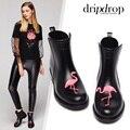 Flamingo Regen Stiefel Frauen Pvc Cat Prince Wasserdichte Absatz Wasser Schuhe Kurze Knöchel Gummistiefel Rain Damen Weibliche Gummi-in Knöchel-Boots aus Schuhe bei