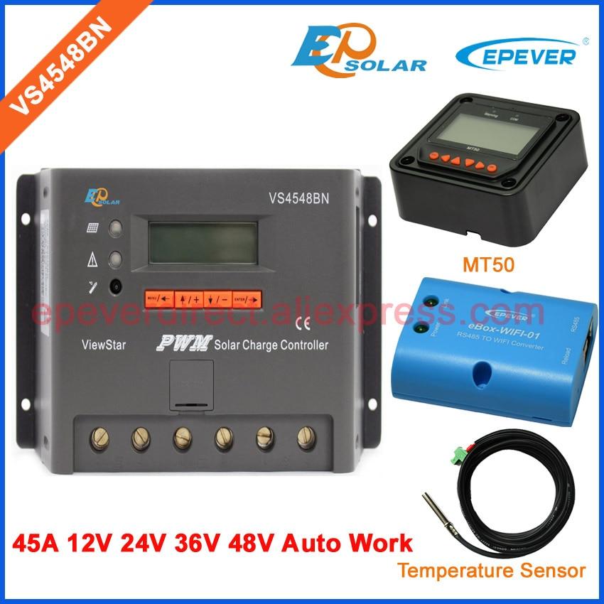 Controller for solar panel home system EPsolar VS4548BN 45A wifi BOX 48v 36v MT50 meter and temerpature sensorController for solar panel home system EPsolar VS4548BN 45A wifi BOX 48v 36v MT50 meter and temerpature sensor