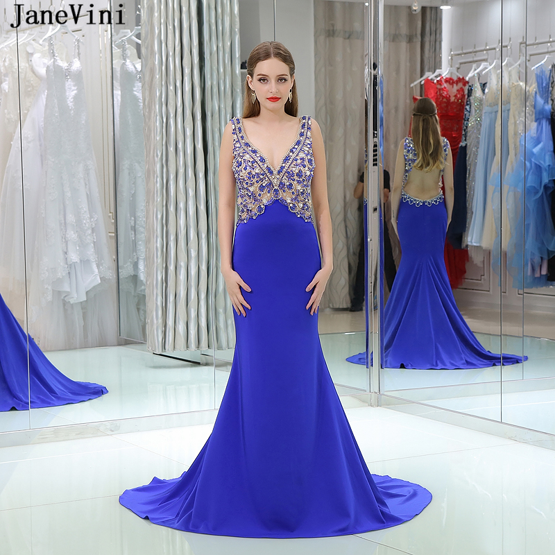JaneVini Sexy Deep V Neck Royal Blue Long Mermaid Bridesmaid Dresses Crystal Beaded Backless Dubai Arab Satin Formal Party Gowns