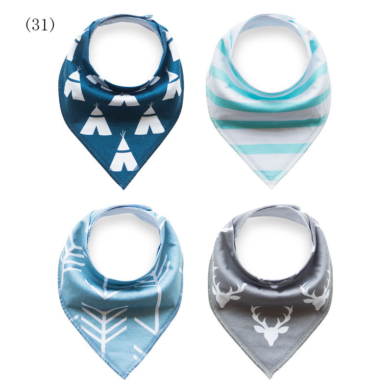 4pcs Baby Bibs Boys Girls Burp Cloths Newborn Babador Bandana Thicken Bibs for Babies Cotton Bib Towel Toddler Triangle Scarf 2 layers newborn cartoon colorful baby boy girl bibs infant soft cotton toddler animal burp cloth waterproof saliva scarf towel