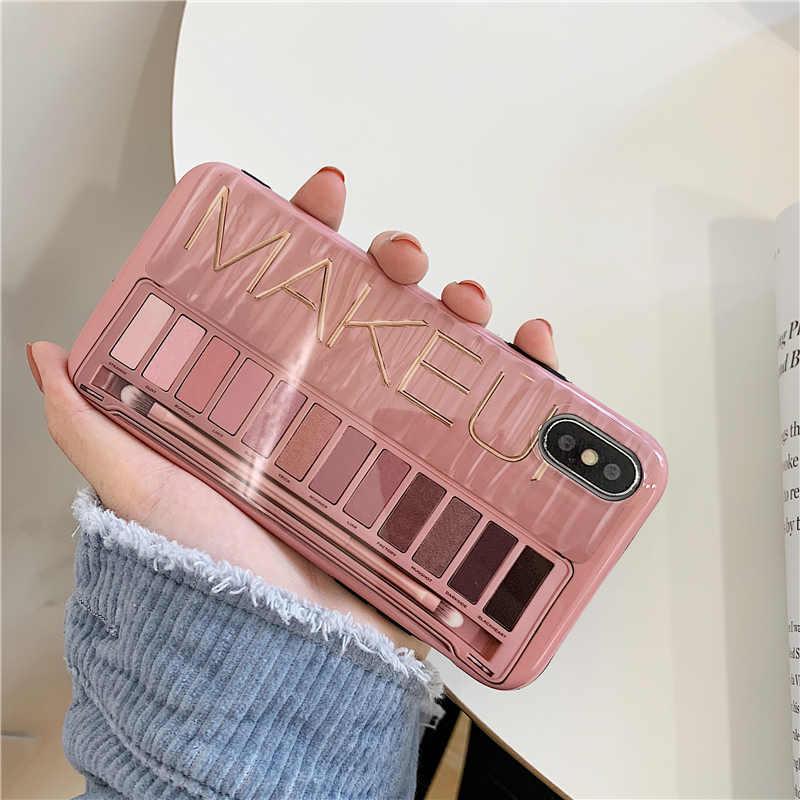 Trang Điểm Phấn Mắt Bảng Ốp Lưng Điện Thoại Iphone XS Max XR XS 11 11Pro Max Cho iPhone 6 6s 7 8 Plus Silicone Mềm Mại bao Da Ốp Lưng