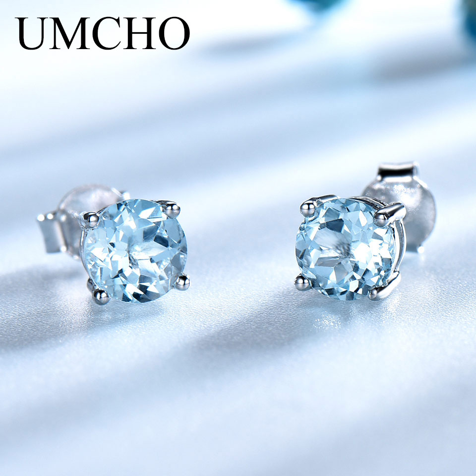 UMCHO Solid Real 925 Sterling Silver Jewelry Created Sky Blue Topaz Stud Earrings For Women Birthday Gifts Fine Jewelry